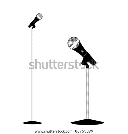 Illustrated Microphone with Stand - Vector Illustration. (High resolution JPEG also available).