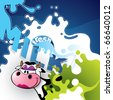 Illustrated milk banner with comic cow. - stock photo