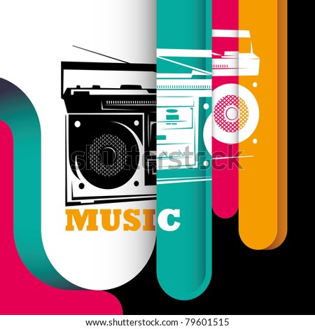 Illustrated modern background with stylized radio. Vector illustration. - stock vector