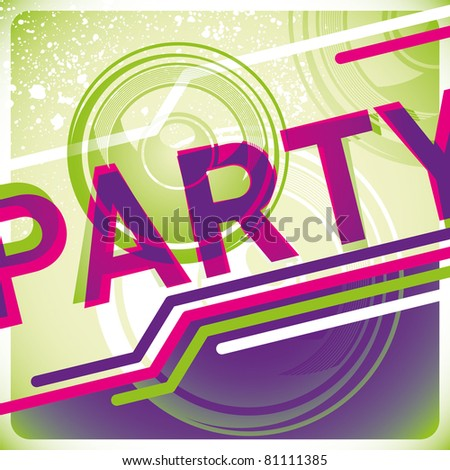 Illustrated modish party background in color. Vector illustration. - stock vector