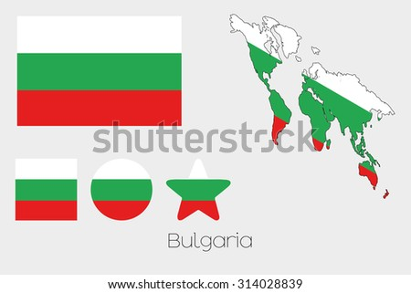 Illustrated Multiple Shapes Set with the Flag of Bulgaria