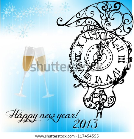 illustrated new year background for 2013 - vector illustration - stock vector