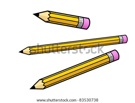 Illustrated Pencils of Various Lengths - Vector Illustration - stock vector