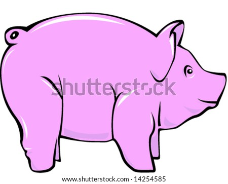 Illustrated pink pig. - stock vector