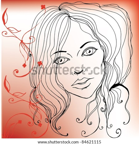illustrated pretty woman - vector illustration