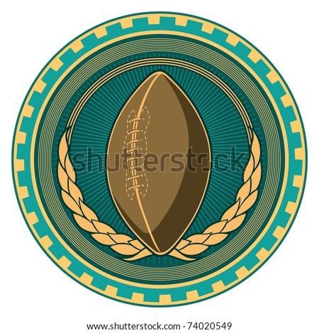 Illustrated retro american football badge. Vector illustration. - stock vector