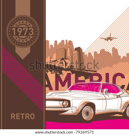 Illustrated retro background in american style. Vector illustration. - stock vector