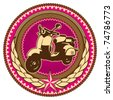 Illustrated retro emblem with moped. Vector illustration. - stock vector