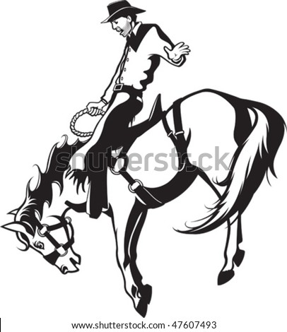 Illustrated saddle bronc rider. Black and white art. Vector file.