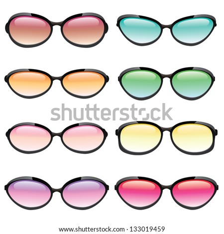 Illustrated set of sunglasses in different fashion styles and lens colors. eps 10. - stock vector