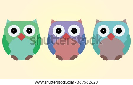 Illustrated set of three cute cartoon owls - green, purple and blue.  - stock vector