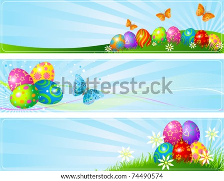 Illustrated set of three different Easter banners - stock vector