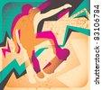 Illustrated skateboarding poster. Vector illustration. - stock vector