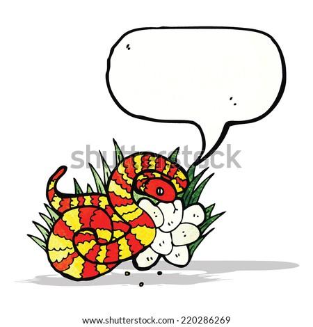 illustrated snake on nest of eggs - stock vector