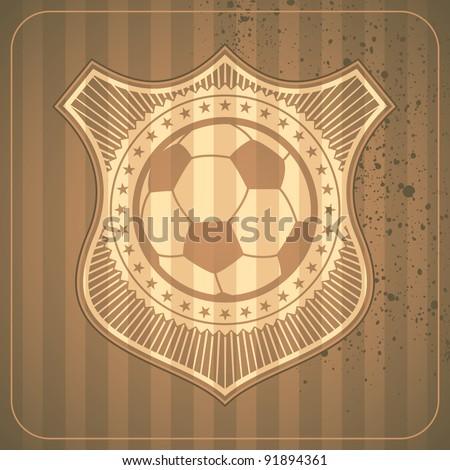 Illustrated soccer crest. Vector illustration. - stock vector
