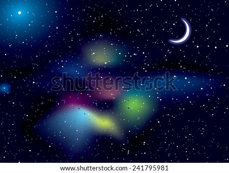 Illustrated space background with stella stars and copy space - stock vector