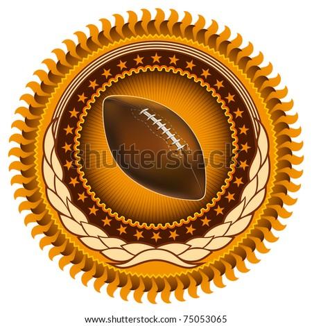Illustrated stylish american football emblem. Vector illustration. - stock vector