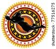 Illustrated stylish american football label. Vector illustration. - stock vector