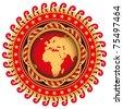 Illustrated stylish emblem with stylized globe. Vector illustration. - stock photo