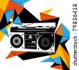 Illustrated trendy background with retro radio. Vector illustration. - stock vector