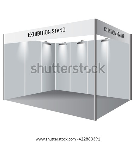 Illustrated unique creative exhibition stand display design. Booth template. Corporate identity. Vector Display Mock-up.   - stock vector