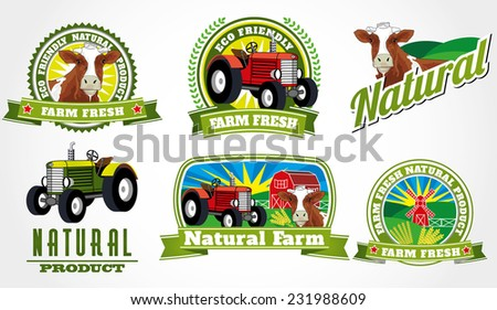 Illustrated vector eco bio farm fresh labels with detailed cow and tractor - stock vector