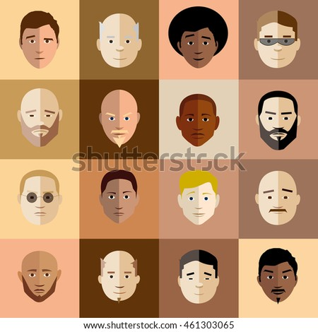 Illustrated vector man head set in retro style