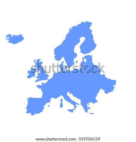 illustrated vector map of Europe - stock vector