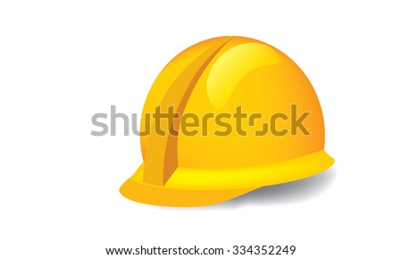 Illustrated vector of construction hardhat against white background - stock vector