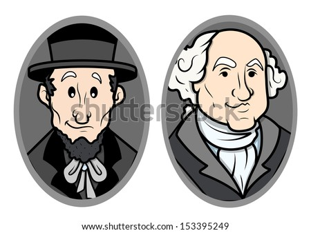 Illustrated Vector Portrait of George Washington and Abraham Lincoln - stock vector