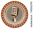 Illustrated vintage badge with old microphone. Vector illustration. - stock photo