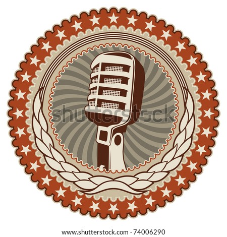 Illustrated vintage badge with old microphone. Vector illustration. - stock vector