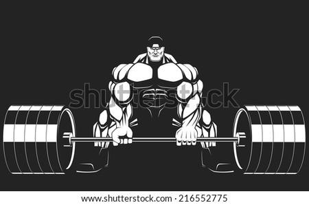 Illustratio, a ferocious bodybuilder with a barbell - stock vector
