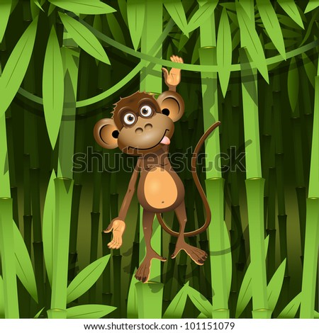 illustration, a brown monkey in the jungle - stock vector