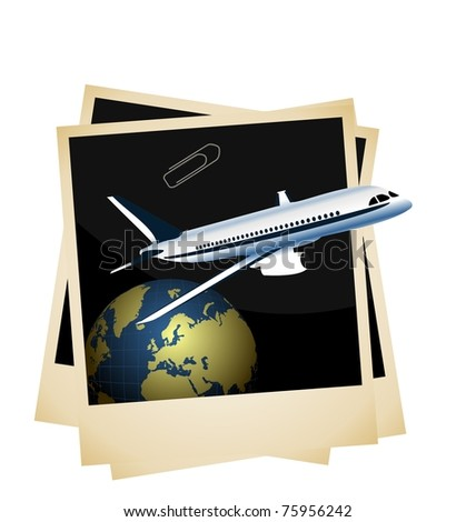 Illustration a conceptual composition of the plane taking off from planet space on photo frame background - vector