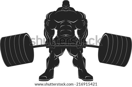 Illustration, a ferocious bodybuilder with a barbell - stock vector