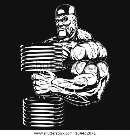 Illustration: a ferocious bodybuilder with dumbbell - stock vector