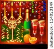 illustration a festive background with candles wine and glasses - stock photo