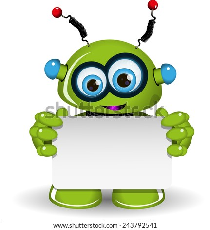 Illustration a green robot and white background - stock vector