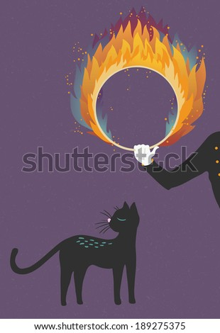 Illustration about a cat who can't be trained - stock vector