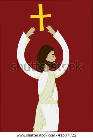 illustration about jesus with cross - stock vector