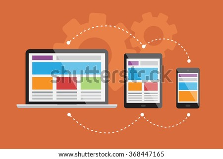 Illustration about the responsive web design in vectors - stock vector