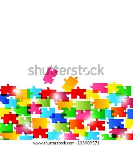 Illustration abstract background made from colorful puzzle pieces - vector - stock vector