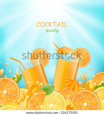 Illustration Abstract Banner for Cocktail Party with Sliced of Oranges, Lemons and Fresh Beverages - Vector - stock vector