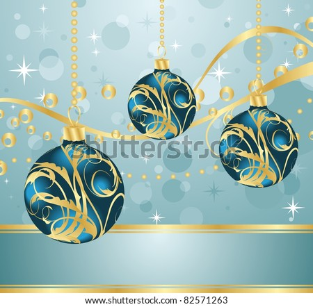 Illustration abstract blue background with Christmas balls - vector - stock vector