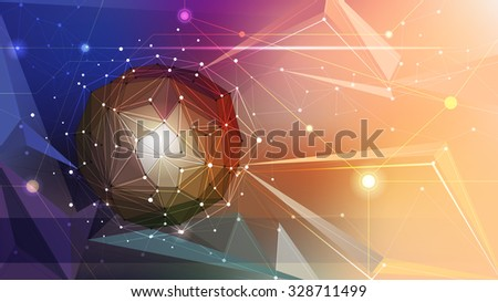Illustration Abstract Molecules and Geometric, Triangle, Circles, Lines, Polygon shapes. Vector design communication technology on multicolored background. Futuristic- digital technology concept - stock vector