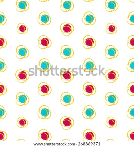 Illustration Abstract Seamless Texture with Colorful Objects, Elegance Kid Pattern - Vector - stock vector
