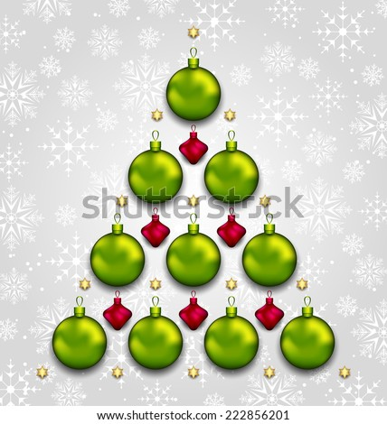 Illustration abstract tree made of Christmas taditional elements - vector - stock vector