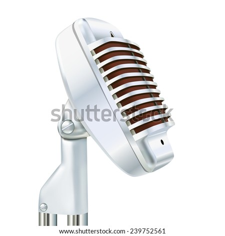 illustration Aluminum microphone on a white background