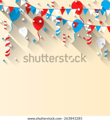 Illustration American patriotic background with balloons, streamer, stars and pennants, in US national colors, trendy flat style with long shadow style - vector - stock vector